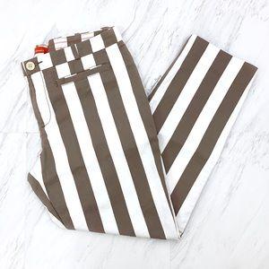 Anthropologie- Cartonnier Brown Stripe Crop Pants